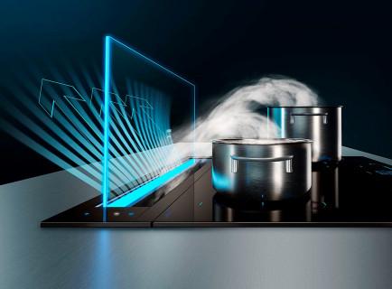 Neviditelný odsavač par. Značka Siemens přináší přelomovou novinku do moderních otevřených kuchyní: zápustné odsavače par ve fantastickém designu se skleněným panelem jsou maximálně nenápadné, díky silnému motoru a inovativní technologii Guided Air však nabízejí také mimořádný výkon. A když už není odsávání potřeba, spotřebič zcela zmizí.