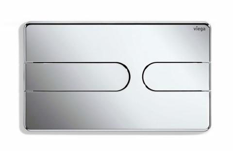 Ovládací deska Viega Visign for Style 25 spolu s předstěnovým prvkem Prevista umožnuje nastavit přesné množství splachované vody (VIEGA)