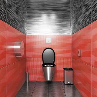 Závěsné nerezové WC s nerezovými doplňky a piezo splachovačem WC SLW 01PA na tlakovou vodu s nastavitelnou dobou splachování (SANELA)